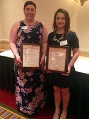 Editor-in-Chief Chelsea Cattano and Staff Writer Stephanie Brady display their first place prizes at the New Jersey Collegiate Press Association Awards.