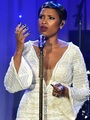 Jennifer Hudson performs during the annual Clive Davis pre-Grammy gala at the Beverly Hilton Hotel on Feb. 11.