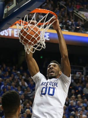 UK's Marcus Lee, #00, dunks against Alabama during their game at Rupp Arena.Feb. 23, 2016