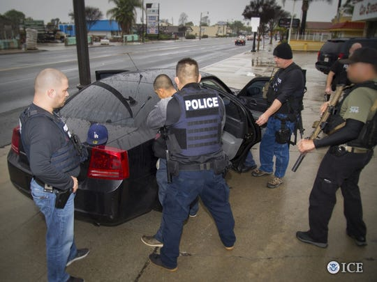 Immigration and Customs Enforcement said it targeted undocumented immigrants with criminal histories in a five-day enforcement operation in the Los Angeles area. The agency provided the media with this photo.