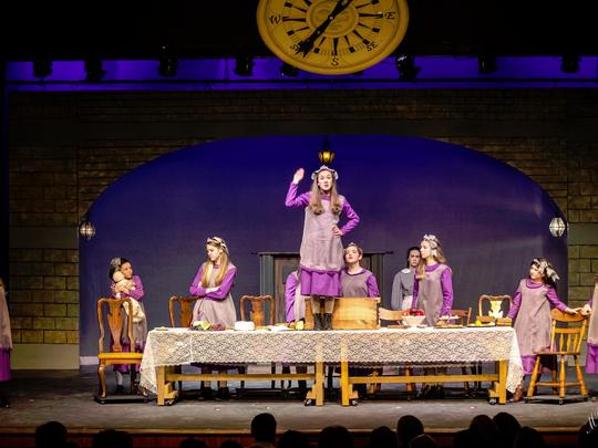 "In Wilmington Drama League's ""A Little Princess"" are, from left, Catherine Enslen, Emma Domenick, Molly Pratzner, Brittany Tillman, Sammi Deutsch, Ellie Vavala, Talia Speak, Molly Evanko, Adelaide Nourie and Hayley Hughes."