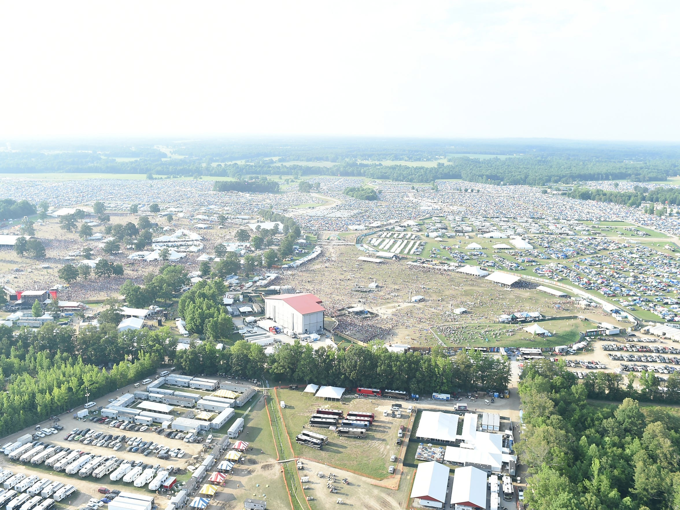 Aerial view of the 2014 Bonnaroo Music & Arts Festival in Manchester, Tennessee.