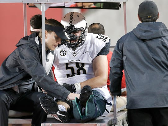 Injured Vanderbilt  offensive lineman Justin Skule