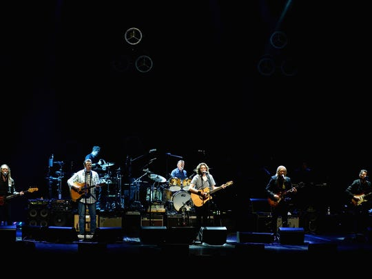 Timothy B.Schmit, Vince Gill, Don Henley, Deacon Frey, Joe Walsh, and Steuart Smith of the Eagles perform during SiriusXM presents the Eagles in their first ever concert at the Grand Ole Opry House on October 29, 2017 in Nashville, Tennessee.  (Photo by Kevin Mazur/Getty Images for SiriusXM)
