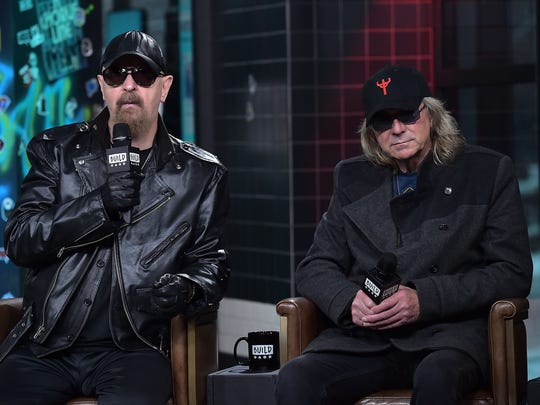 Rob Halford and Glenn Tipton of Judas Priest talk at Build at Build Studio on March 21, 2018 in New York City.