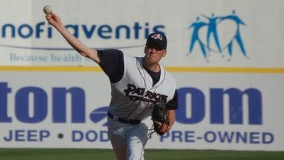 Former J.F. Kennedy High School star Chris Buglovsky pitches for the Somerset Patriots in 2008.