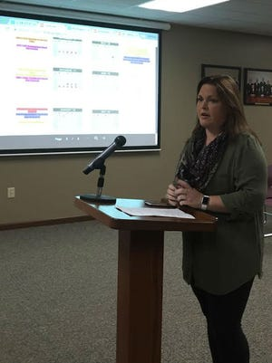 Becca Camp, personnel committee chair for Mountain Home School District, gives a presentation on the 2017-18 calendar to board members Thursday. One of the major changes in the calendar is the teacher independent contract flex days.