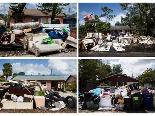 Trash piles, full of furniture and other ruined belongings,