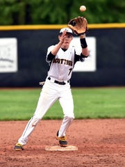 Tri-Valley's Seth Wolford takes a throw from shortstop Matt King against John Glenn.