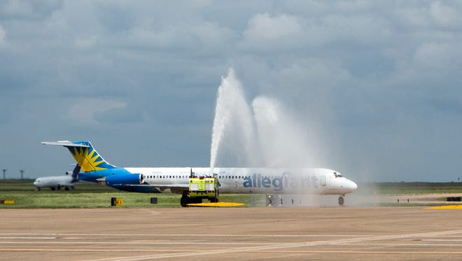 The South Terminal's first arrival -- an Allegiant flight from Albuquerque -- was welcomed with a water-cannon salute on April 14, 2017.