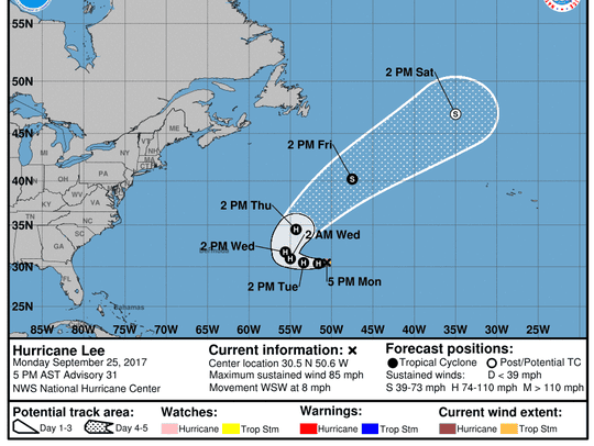 Projected path of Hurricane Lee as of 5 p.m. Monday,
