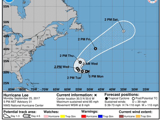 Projected path of Hurricane Lee as of 5 p.m. Monday, Sept. 25, 2017.
