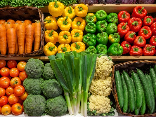 Assortment of fresh Vegetable on Shelves