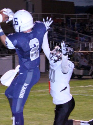 Silver's Chandler Bryan caught this 15-yard pass for a touchdown to put the Colts up, 13-8, in the second quarter of Friday's game against Chaparral.