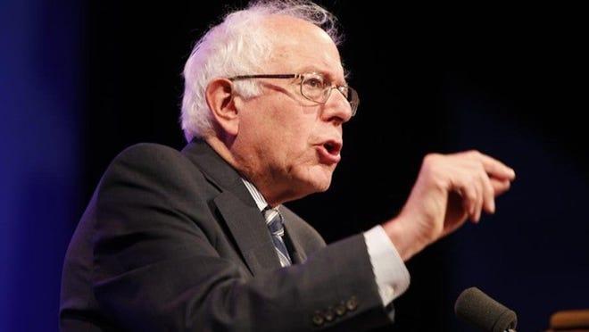 Sen. Bernie Sanders giving remarks.