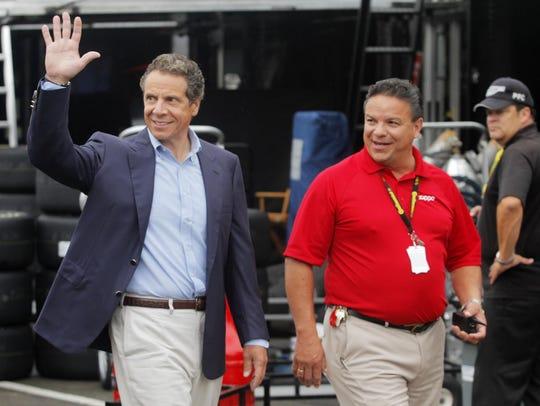 New York Gov. Andrew Cuomo takes a tour of the garage