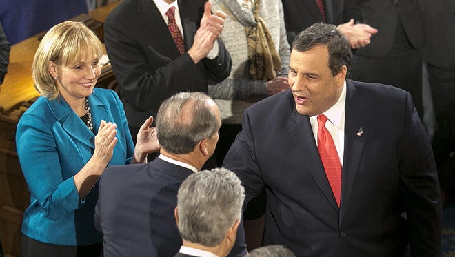 "After Chris Christie made a number of gaffes on CBS' ""Face The Nation'' last weekend, fact-checking shows he was mostly telling it like it is at his State of the State speech. Here, Lt. Gov. Kim Guadagno (left) and Christie greet dignitaries before the speech in Trenton on Tuesday. (Bob Bielk/Asbury Park Press)"
