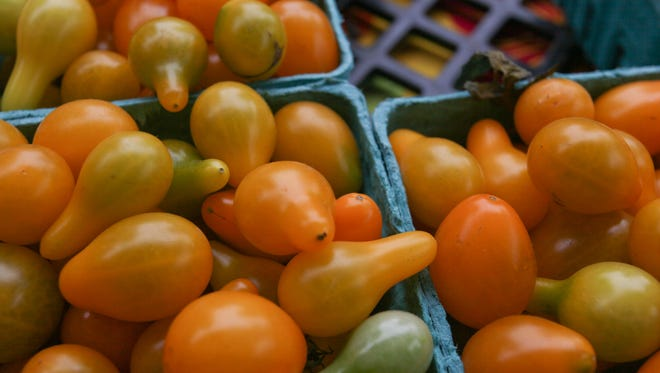 Yellow Pair tomatos at the Bardstown Road farmer's market in Louisville, KY. Aug. 16, 2014