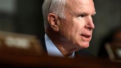 Sen. John McCain, R-Ariz., speaks during a hearing