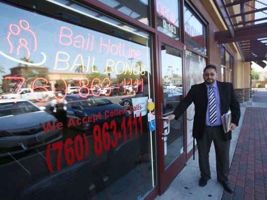 Indio officials have imposed a 45-day ban on new bail bond services near the courthouse. Eduardo Figueroa, pictured in this file photo, is manager for Bail Hotline Bonds and feels the ban is not fair.