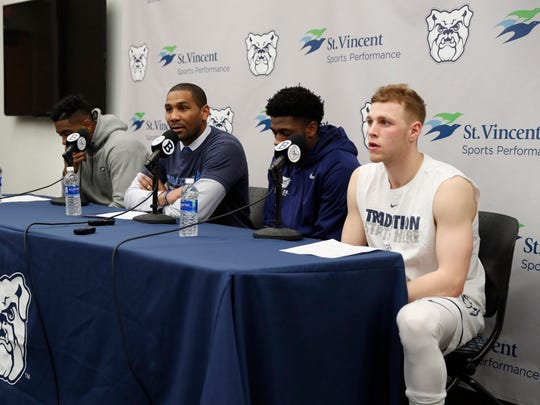 Butler Bulldogs coach LaVall Jordan talks to the media after a game against the Villanova Wildcats at Hinkle Fieldhouse.