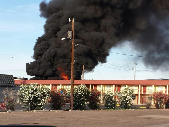 A major fire east of downtown Phoenix Tuesday engulfed a series of tanker trucks near 24th and Jefferson streets.