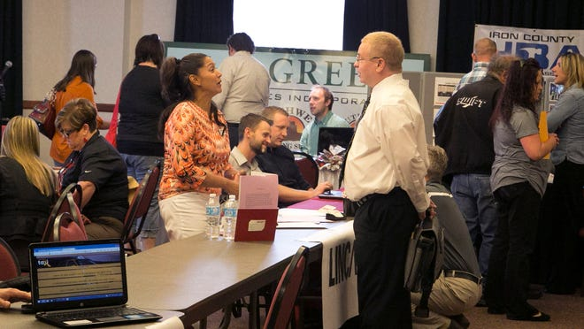 Veterans and residents alike showed up at the Veterans and Community Job Expo in Cedar City in this Spectrum file photo from April 22, 2015. Approximately 150 job seekers met with 60 employers during the event.