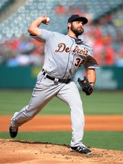 June 1, 2016; Anaheim, CA, USA; Detroit Tigers starting pitcher Michael Fulmer (32) throws in the second inning against Los Angeles Angels at Angel Stadium of Anaheim.