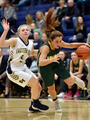 York Catholic's Kate Bauhof drives against Eastern York's Cassidy Arnold in the second half of a YAIAA girls' basketball game Wednesday, Feb. 1, 2017, at Eastern York. York Catholic defeated Eastern York 74-56.