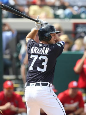Tigers outfielder Jason Krizan bats during the Tigers' exhibition win over Florida Southern, 8-0, on Feb. 23, 2017, at Publix Field at Joker Marchant Stadium.