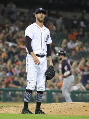 Detroit Tigers Shane Greene reacts after giving up a three run homer to he Cleveland Indians second baseman Jason Kipnis during ninth inning action Friday, June 8, 2018, at Comerica Park in Detroit, Mich.