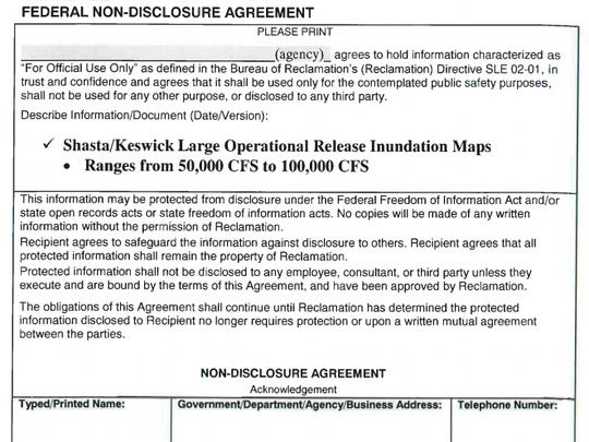 This image shows a portion of the non-disclosure form the U.S. Bureau of Reclamation distributed to local emergency responders.