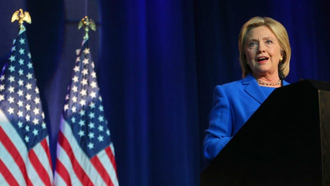 Hillary Clinton speaks at the Democratic National Committee summer meeting on Aug. 28, 2015, in Minneapolis.