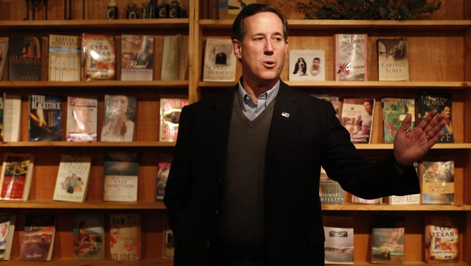 Republican presidential candidate Rick Santorum makes a campaign stop Wednesday, Jan. 27, 2016, at the Coffee Attic in Iowa Falls.