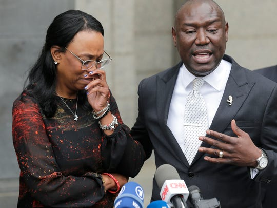Jewel Upshaw, the mother of G League basketball player Zeke Upshaw, who died in March after collapsing on a court during a game, becomes emotional as attorney Ben Crump speaks at a news conference in front of U.S. District Court in New York, Wednesday, May 30, 2018. Jewel Upshaw filed a lawsuit Wednesday accusing the NBA and the Detroit Pistons of negligence.