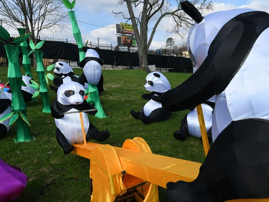 A panda playground at the new Chinese lantern festival at the Chilhowee Park Midway area Tuesday, March 13, 2018. The new festival will begin Friday.