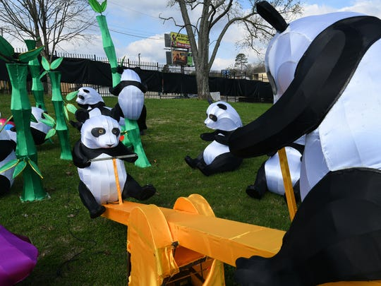 A panda playground at the new Chinese lantern festival at the Chilhowee Park Midway area Tuesday, Mar. 13, 2018. The new festival will begin next Friday.