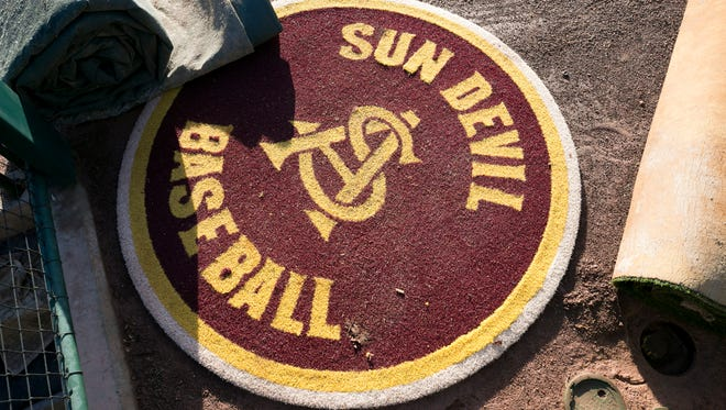 The ASU on-deck circle at Phoenix Municipal Stadium.