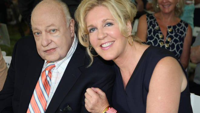 Roger Ailes and his wife, Elizabeth, pose for a photo during a groundbreaking for the Pataki Park and the Roger Ailes Senior Center at the Butterfield property off Route 9D in Cold Spring Wednesday. The new complex will include new commercial office and retail space, 55 luxury residences for 55-and-older and three single family homes.