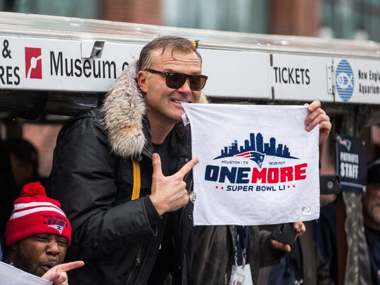 Scott Zolak, broadcaster and retired New England Patriots quarterback, celebrates during the New England Patriots victory parade on Feb. 7, 2017 in Boston, Massachusetts.