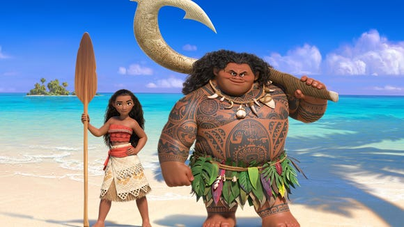 Moana (left) and the once-mighty demi-god Maui (right).