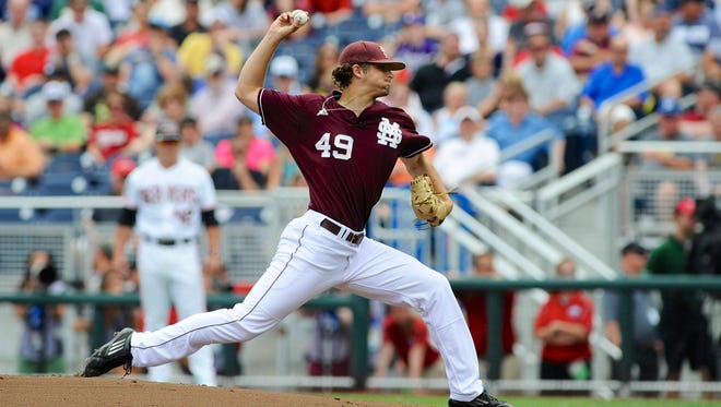 In this file photo, Mississippi State pitcher Kendall Graveman works against  Oregon State in the opening game of the NCAA College World Series, in Omaha, Neb., Saturday, June 15, 2013.