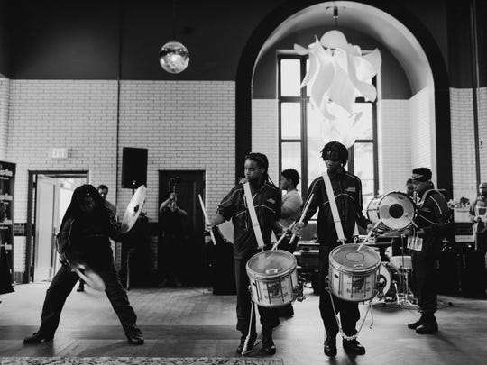 The Levey Middle School Drum Line performs at The Foundation Hotel.
