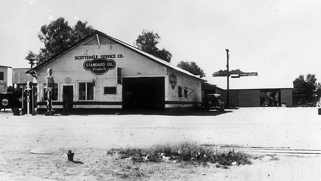 Mort Kimsey's gas station and repair garage at Scottsdale Road and Main Street is where people paid their electric bills in the 1920s and '30s.