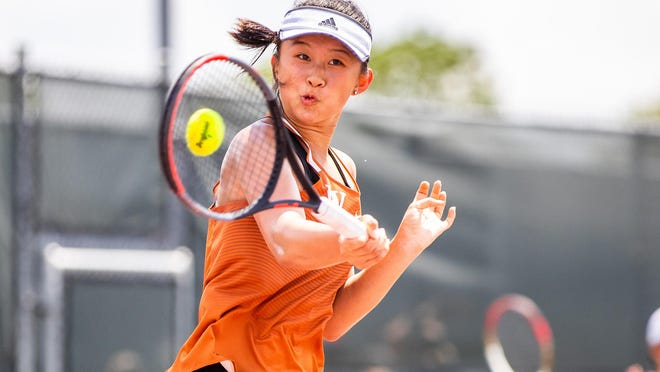 Westwood's Jessica Lu hammers a forehand during the Class 6A girls singles semifinals at the 2019 state tournament in College Station. Lu, who is now a senior at Westwood, is expected to anchor the Warriors' tennis team this fall.  Tryouts begins Sept. 10.