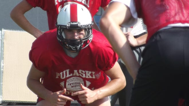 Pulaski senior Dominick Hendricks, shown during a preseason practice, has a remained a fixture for the Red Raiders despite missing a second straight season with a torn ACL.