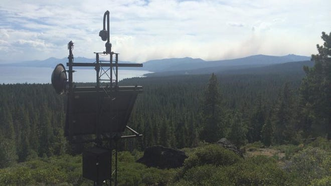 An automated fire camera records images from a north Lake Tahoe ridgeline.