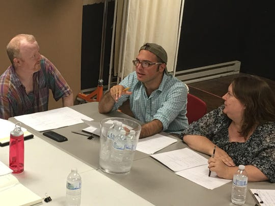 "Director Tim Mollen, playwright Santino DeAngelo and Cider Mill Playhouse executive/artistic director Gail Belokur attend a reading of DeAngelo's new play ""When in Carthage,"" which opens at Cider Mill on Sept. 15."