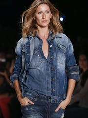 Brazilian super model Gisele Bundchen wears a creation