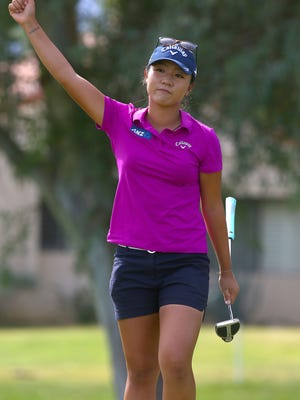 Lydia Ko reacts to draining a long birdie putt on the 8th hole during the final round of the ANA Inspiration in Rancho Mirage, April 3, 2016.